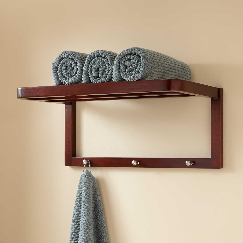 Mahogany Towel Shelf with Hooks | Towel shelf, Towels and Shelves