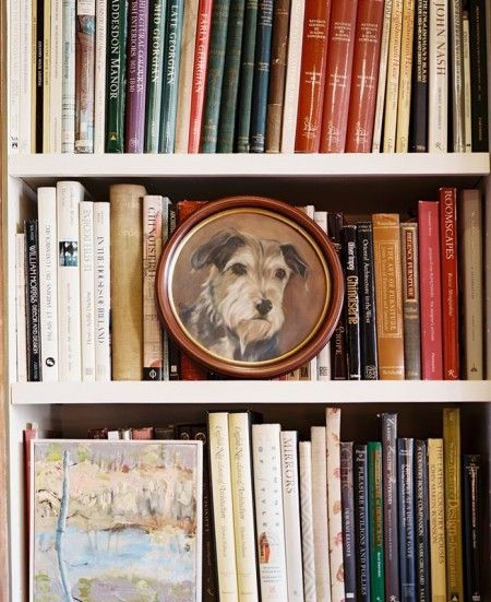 Bookcase with Dog Painting | Content in a Cottage