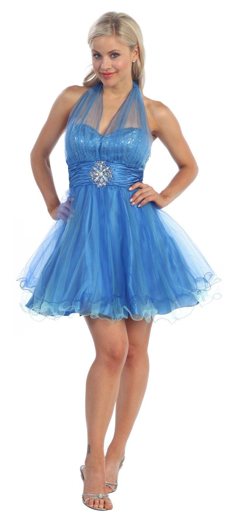 Short Blue Prom Dress Halter Top Sequin Bodice Poofy Skirt Tulle ...