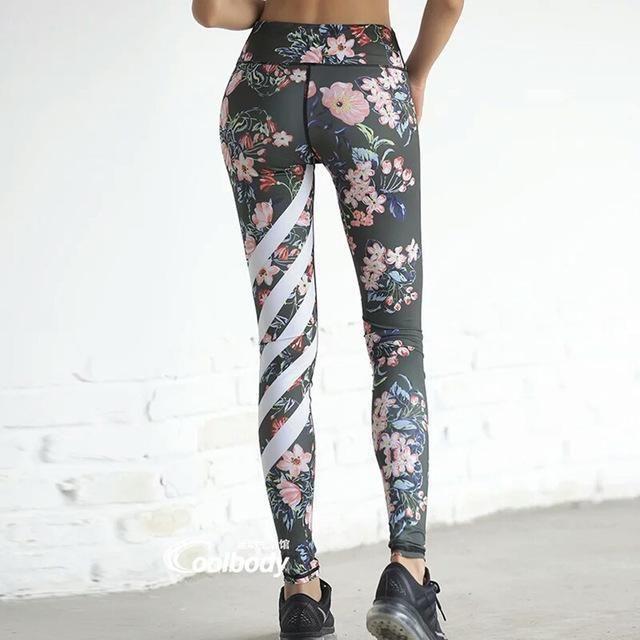 855444e3271a3e Comfy Floral Print High Waist Compression Yoga Pants   FITNESS ...