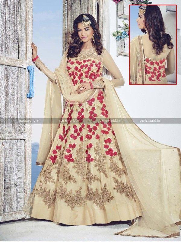 Beige Net Stunning Designer Indo Western Gown | Indo Western Gowns ...