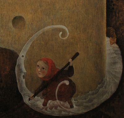 "Iku Dekune illustration for the book, ""Masha and the White Bird""."