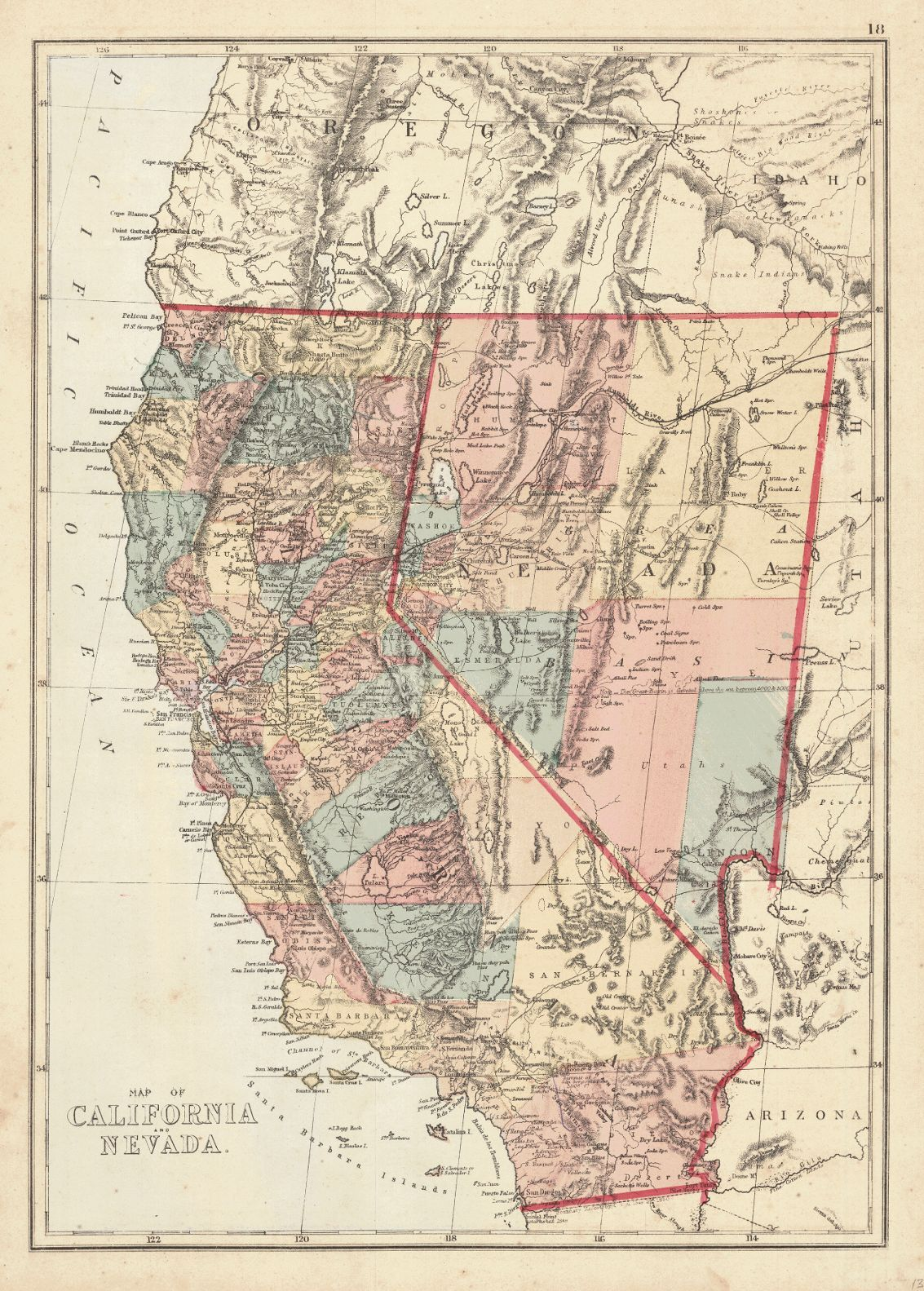 Map Antique Map Of California And Nevada