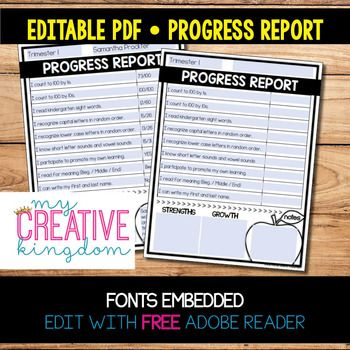 Editable Pdf Progress Report Templates  Pdf And Kindergarten