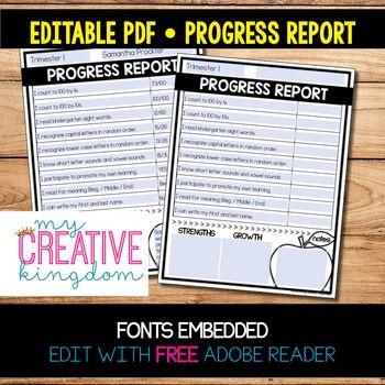 EDITABLE PDF Progress Report Templates Kindergarten - progress reports templates