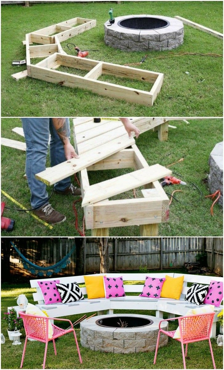 diy circle bench around your fire pit | garden pallet, fire pit ... - Outdoor Fire Pit Patio Ideas