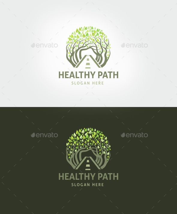 healthy path logo template food forest green landscape leaf