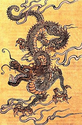 Japanese dragon, Chinese school, 19th Century - The Chinese dragon is a creature that also appears in other East Asian cultures, and is sometimes called the Oriental (or Eastern) dragon. Depicted as a long, snake-like creature with four claws, in contrast to the Western dragon which stands on four legs and is usually portrayed as evil, it has long been a symbol of power in Chinese folklore and art.