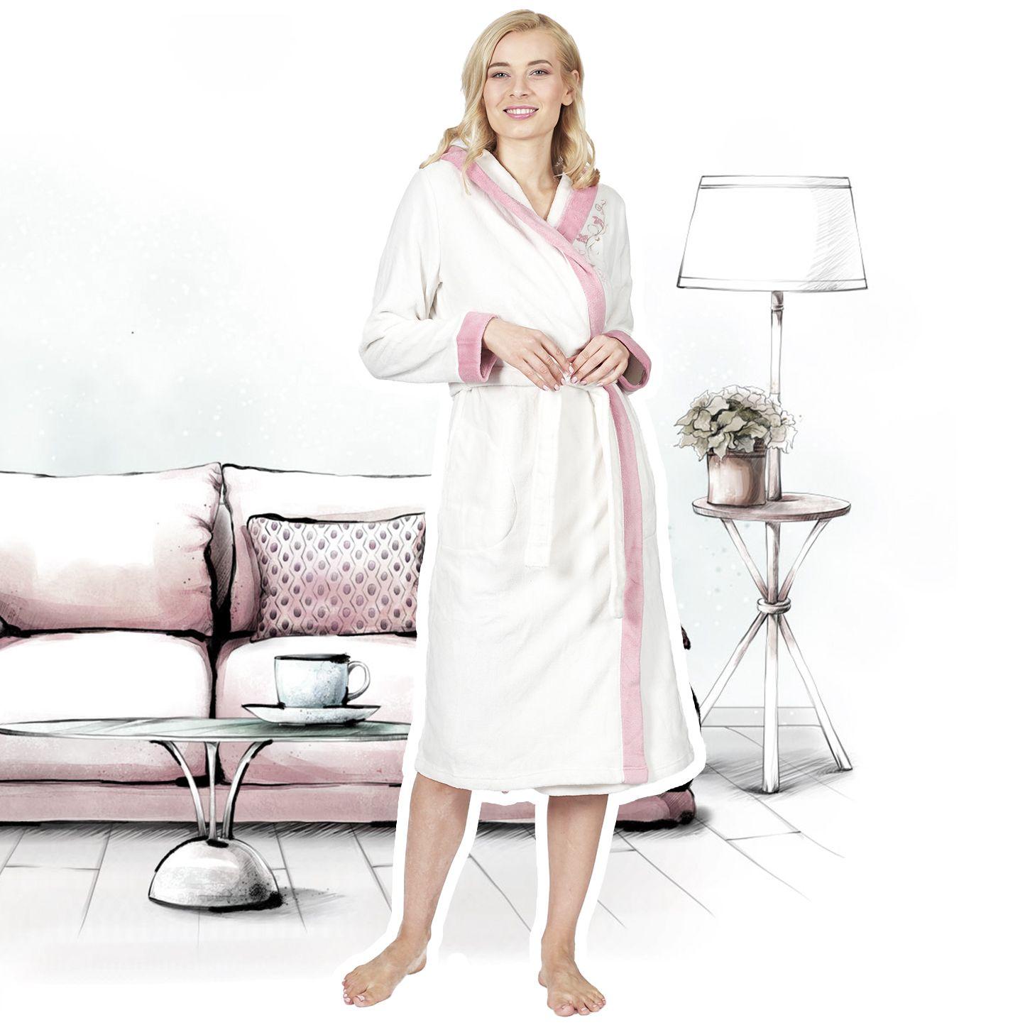 RAIKOU Neu Damen Bademantel Morgenmantel Saunamantel mit Kapuze mit hohem Baumwollanteil