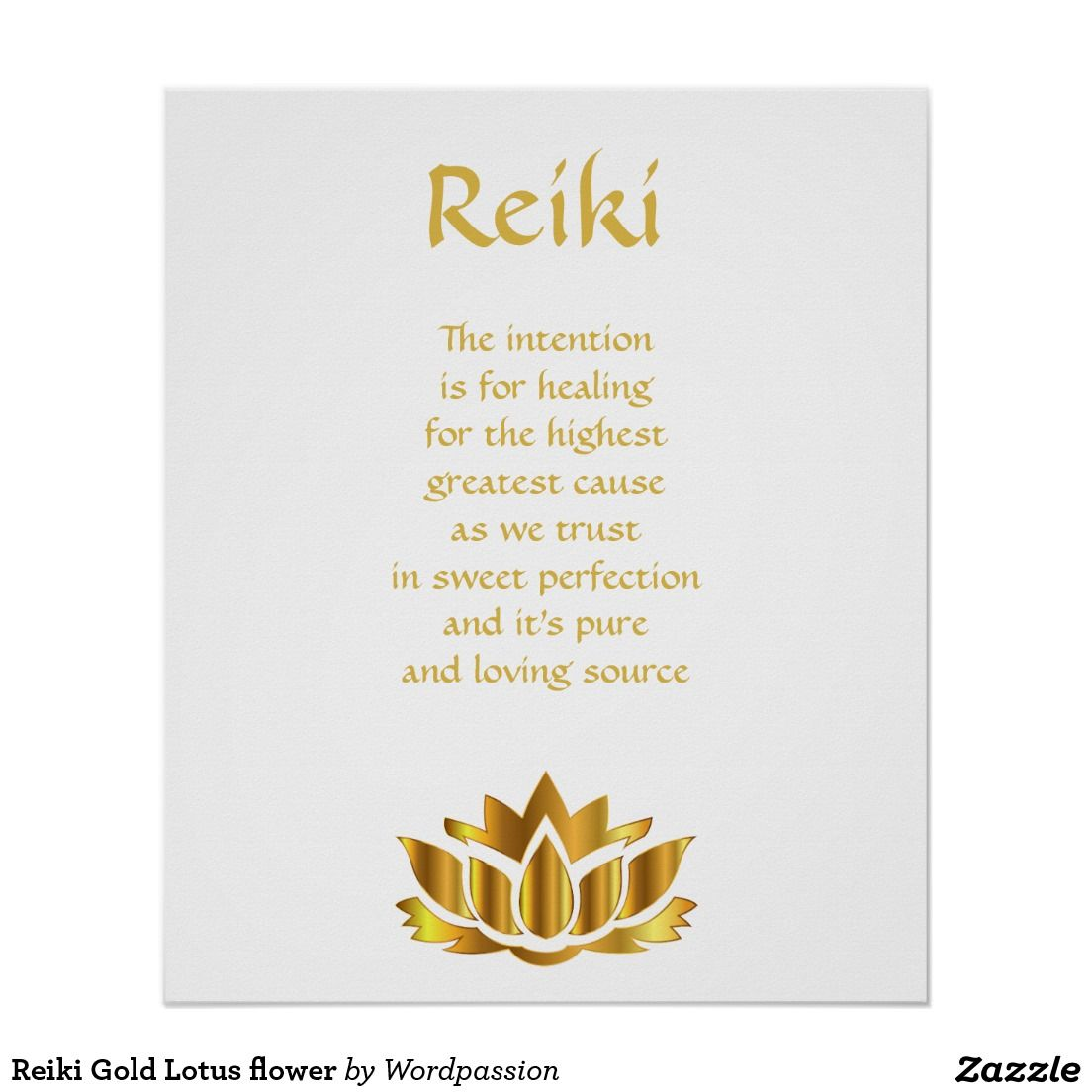 Reiki Gold Lotus Flower Poster Inspirational And Healing Posters