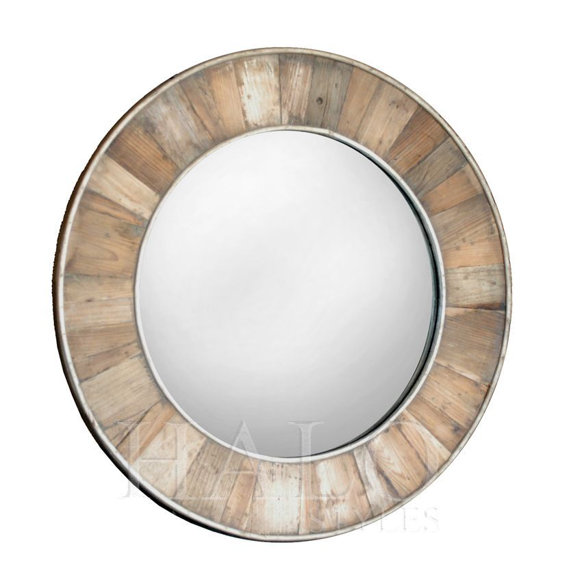 Wooden round mirror coastal mirrors pinterest round for Circle mirror