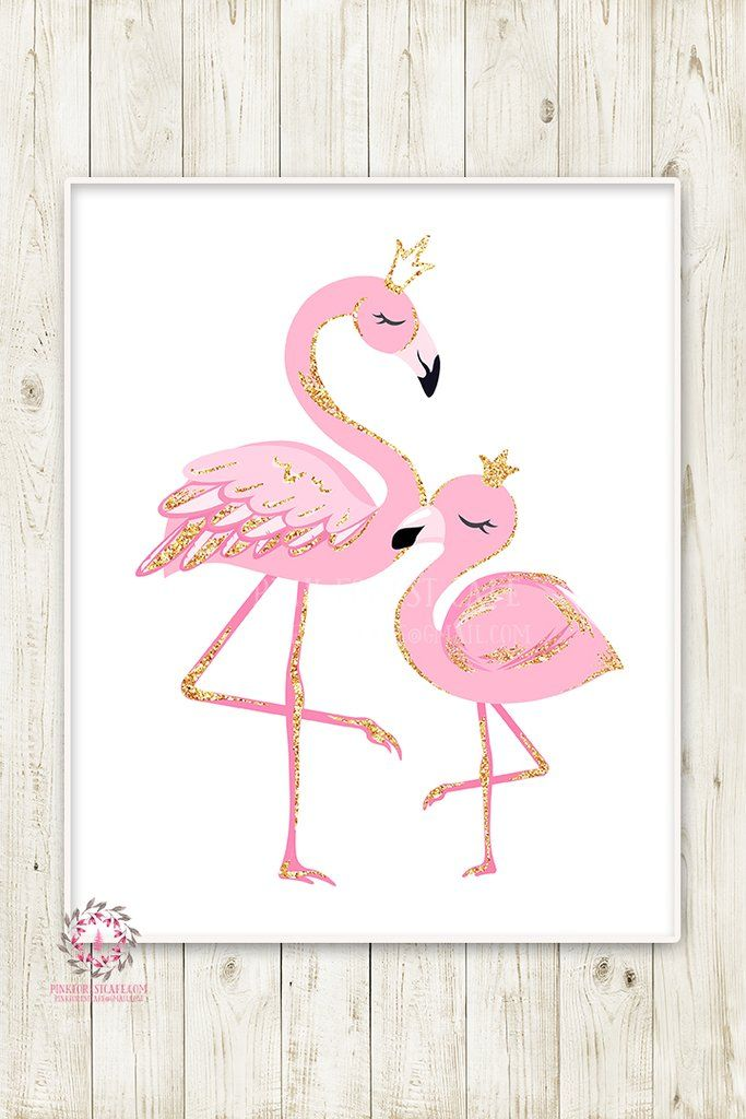Pink Flamingo Baby Girl Nursery Wall Art Print Pink Gold Crown Ethereal Whimsical Bohemian