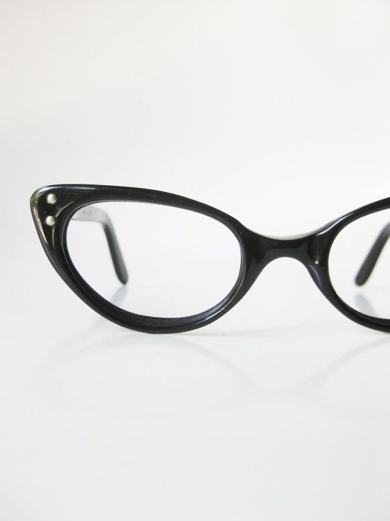 6b6c78e9b34 1960s Black Cat Eye Glasses Eyeglasses Vintage Retro Optical Frames Vogue  USA American Made 60s Sixties Mid Century Modern Mod