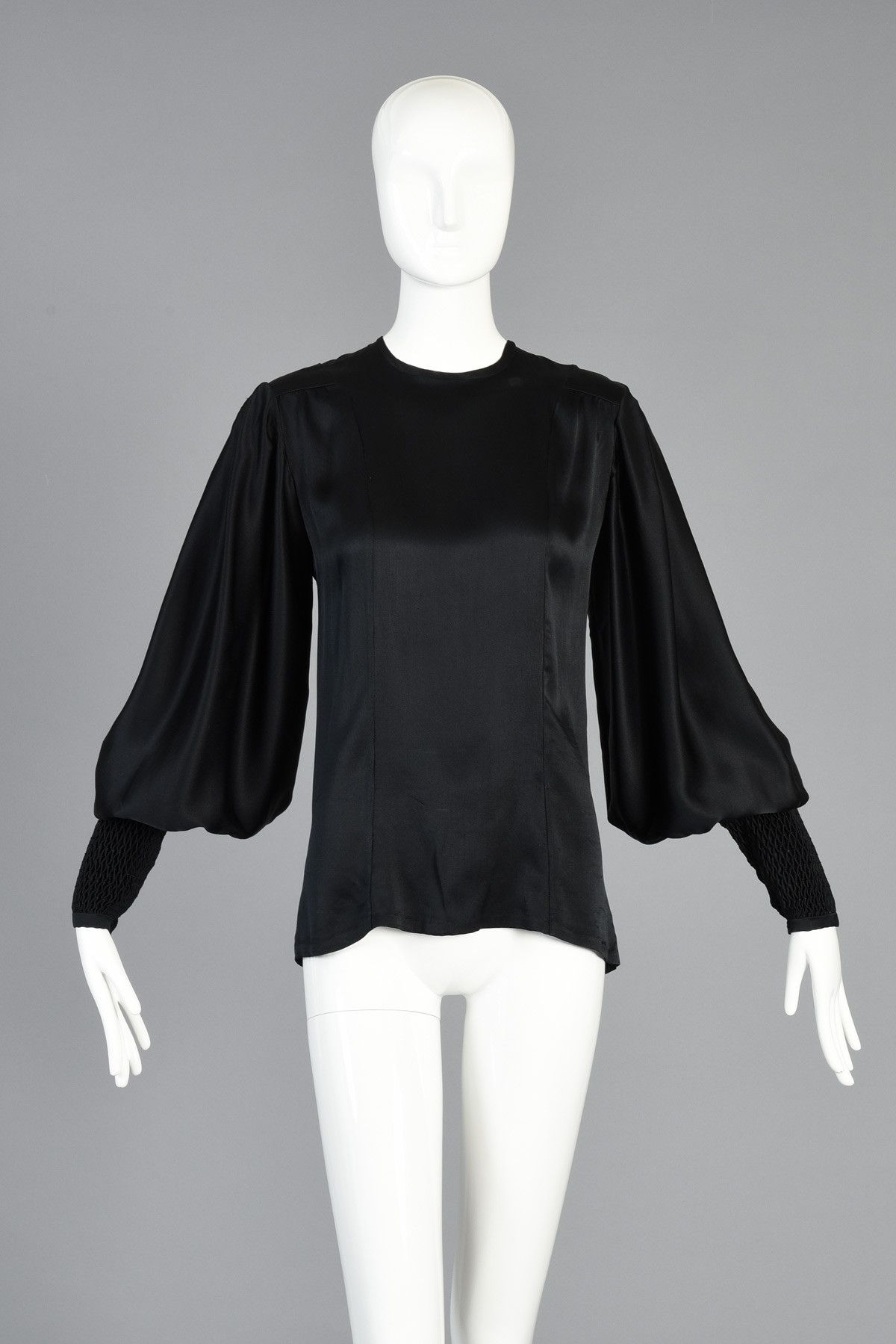70s Thea Porter Couture Silk Blouse w/Massive Blouson Sleeves | BUSTOWN MODERN