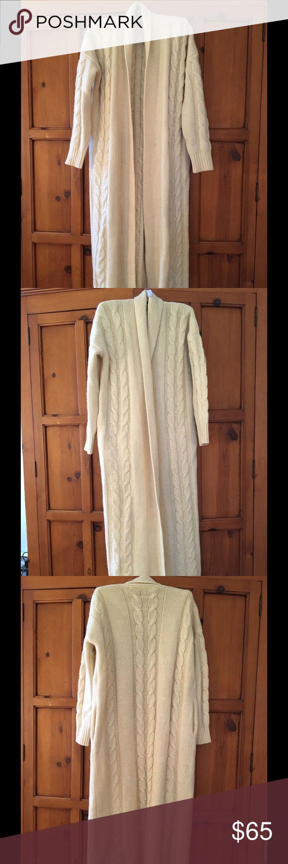 RARE I.B. DIFFUSION cream maxi wool cardigan coat | Ski shop, Wool ...
