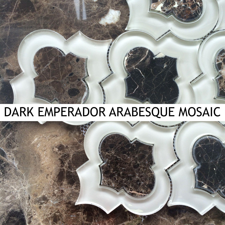 Dark Emperador Arabesque Tile Mosaic from AllMarbleTiles.com