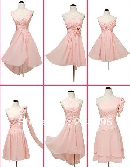 6 style strapless one shoulder junior nude bridemaid dress ...