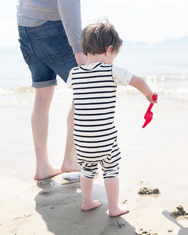Such a lovely weekend spent in Anglesey with Albert. Our Rompers were well and truly tested and were perfect. Lightweight enough to be worn in the sun, can be layered for cooler evenings and rolled up to go paddling. I can foresee Albie having the whole collection for this Summer. Are your little ones Summer ready yet? • • • • #summercollection #kidssummerfashion #romper #babyromper #toddlerstyle #kidsfashionforall #letthembelittle #littleandbrave #pixel_kids #letthemexplore #beachstyle #stripes #striperomper #daddyandsontime #beachlife #igstylishkids #ig_kidsphoto #familyholiday