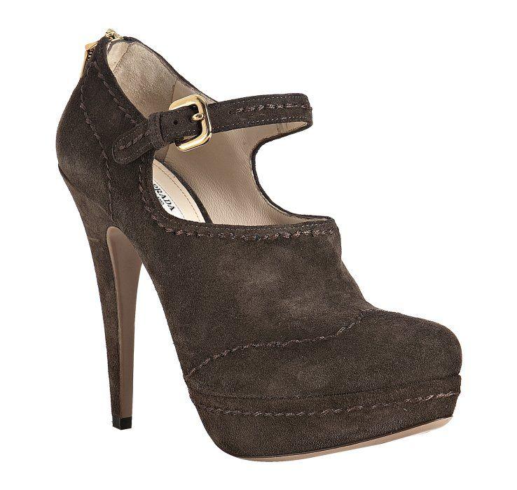 Prada -- graphite suede top stitched platform pumps. Hot ShoesShoes HeelsPlatform  ...