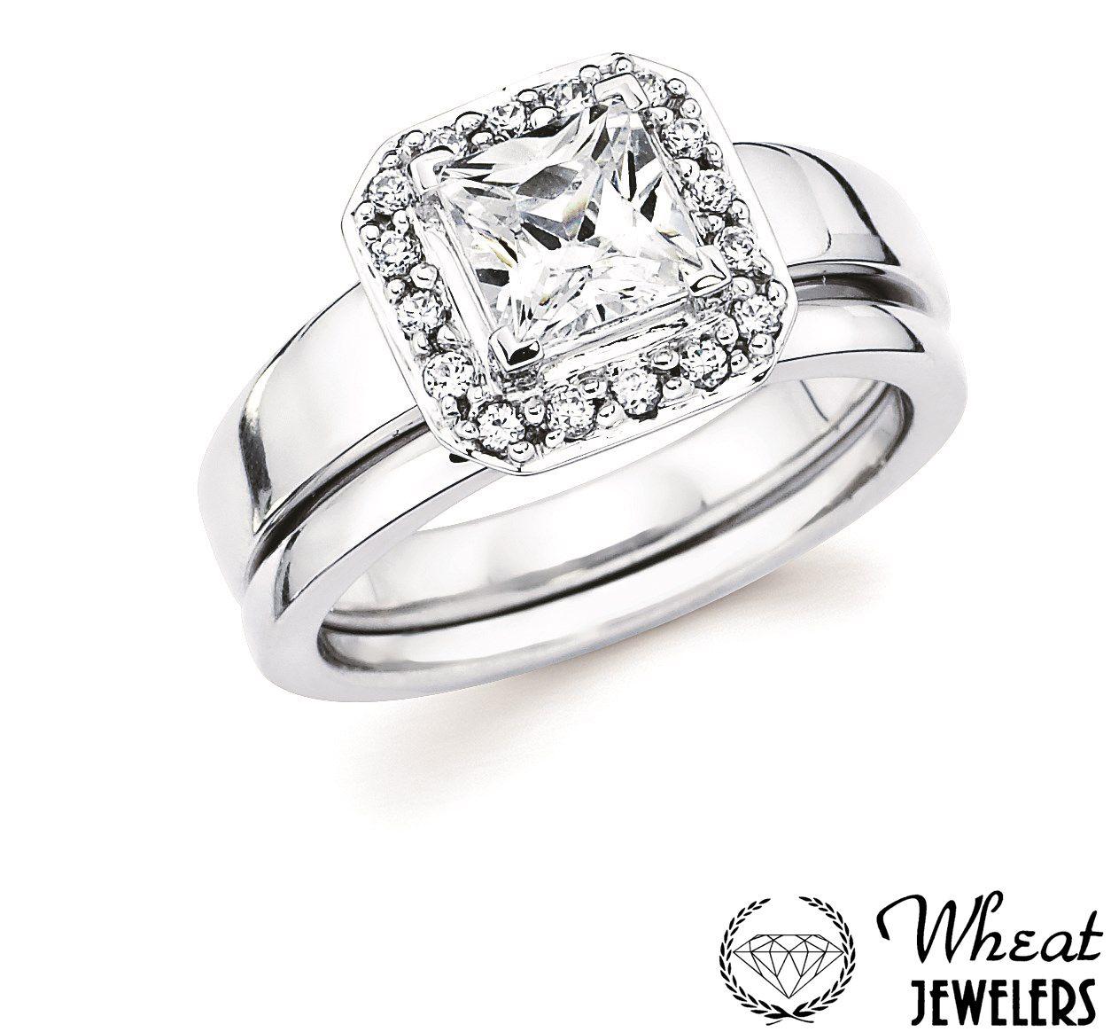 Square Halo Engagement Ring With Plain Shank And Matching Wedding Band # Engagementring #weddingband #