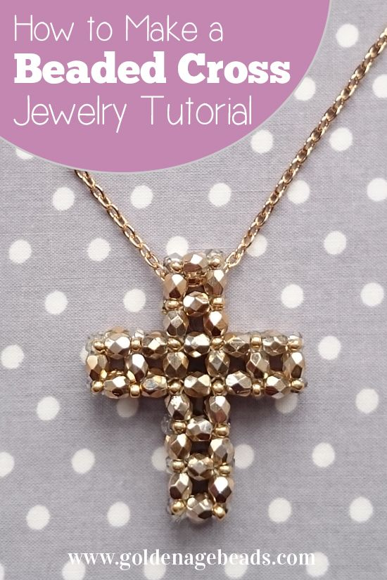 Easter jewelry making tutorial how to make a beaded cross dijes how to make a beaded cross using faceted or round beads necklace pendant project beading aloadofball Choice Image