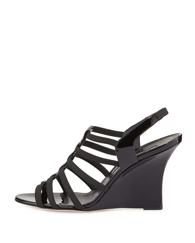 Iaggia Patent Wedge Sandal, Black