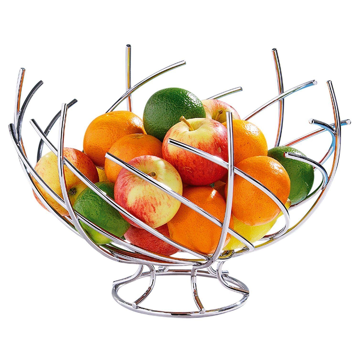 Chrome Fruit Basket Kitchen Dining Table Fruits Metal Wire Bowl Decor Display Ebay