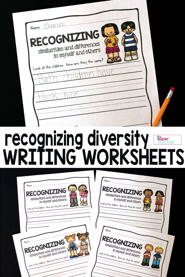 Worksheets Diversity Worksheets recognizing diversity writing prompts and worksheets in these are for teaching about each printable has pictures of children lines under the pr