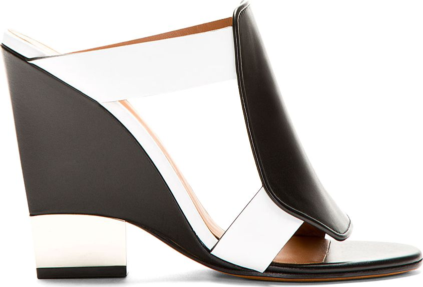 Givenchy: Black  White Leather Wedge Sandals