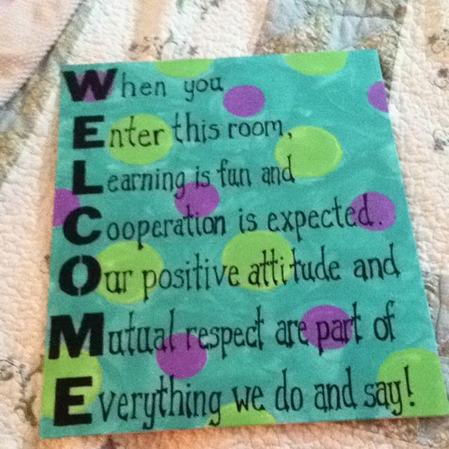 Welcome sign with classroom expectations also best ideas images on pinterest school rh