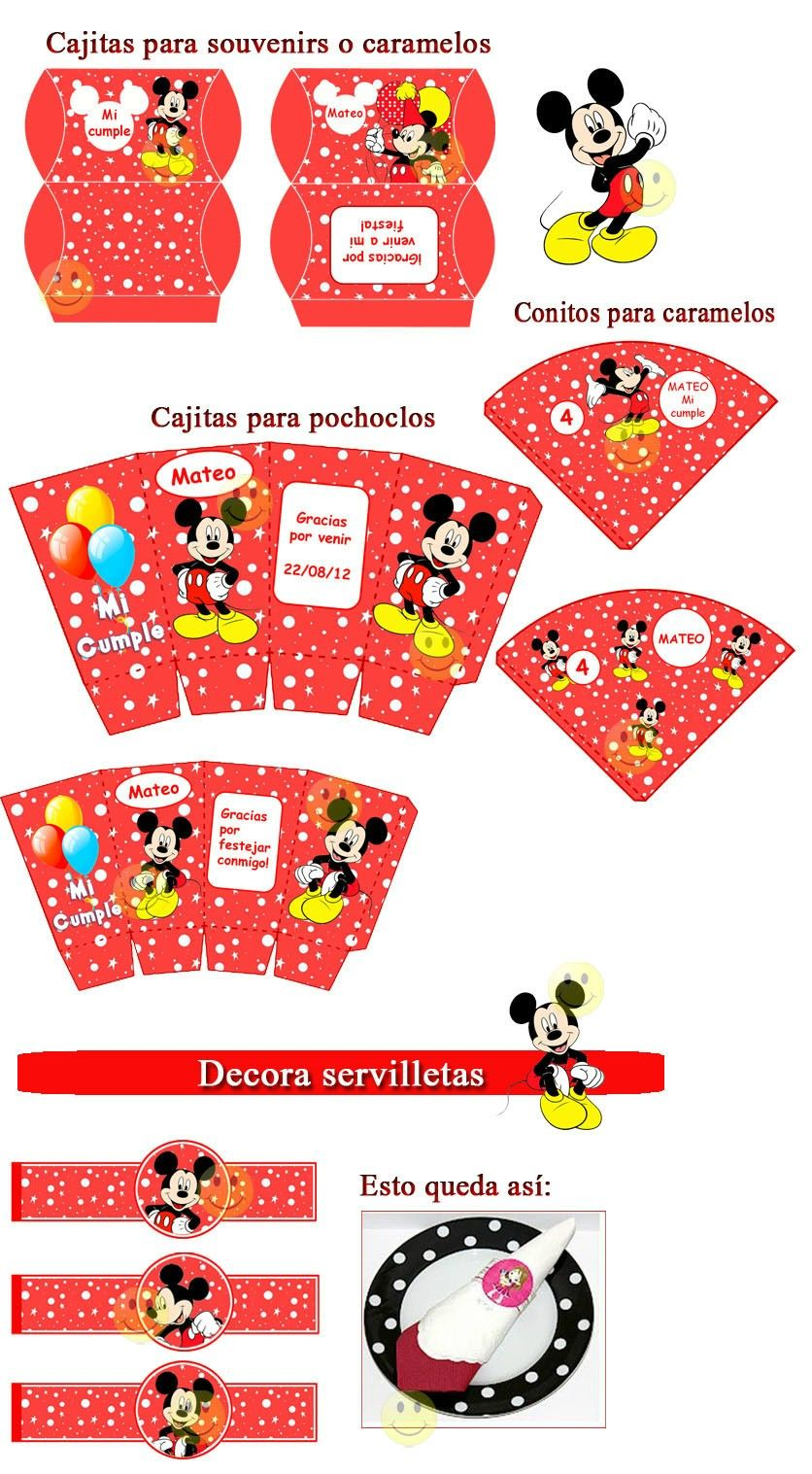 Kit Imprimible De Mickey Mouse - Rojo - $ 26,00 en MercadoLibre ...