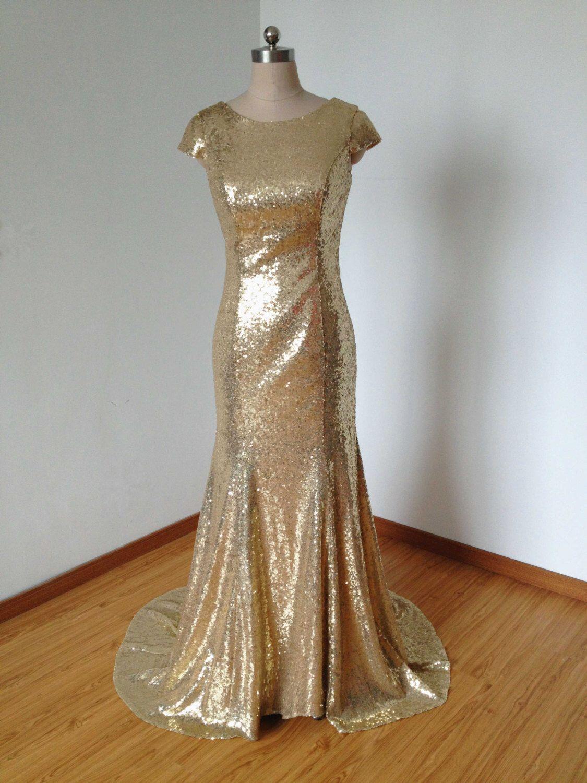 Mermaid cap sleeves scoop vback champagne gold sequiu my happily