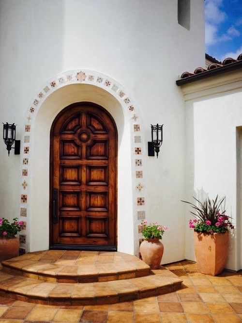 Enchanting Doorway With Border Mexican Tile Outdoor