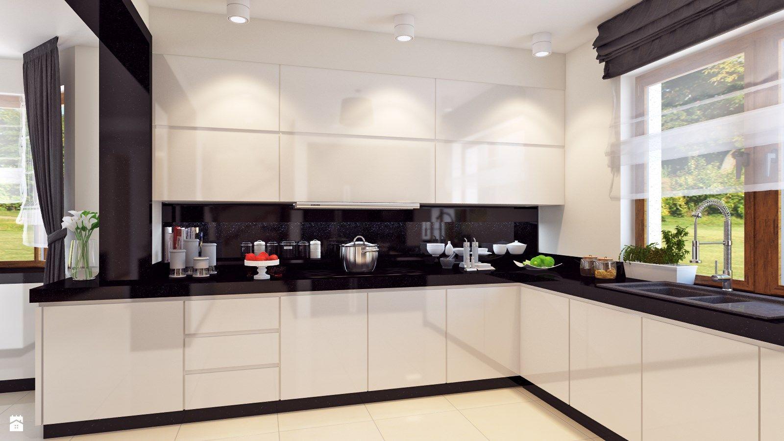 Otwarta kuchnia w bieli hola design homesquare - Dom W Stylu Glamour Rednia Otwarta Kuchnia W Kszta Cie Litery L W Aneksie