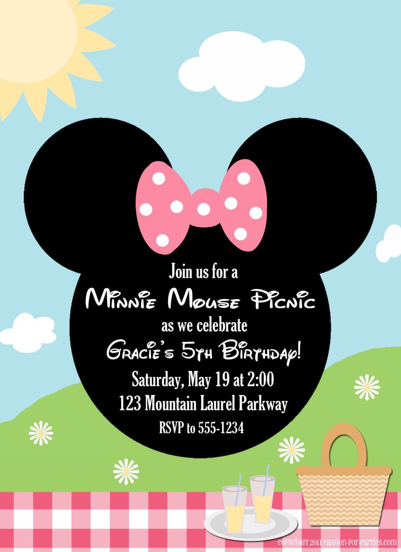 Minnie Mouse Picnic Party Invitations. $15.00, via Etsy. I wonder if ...