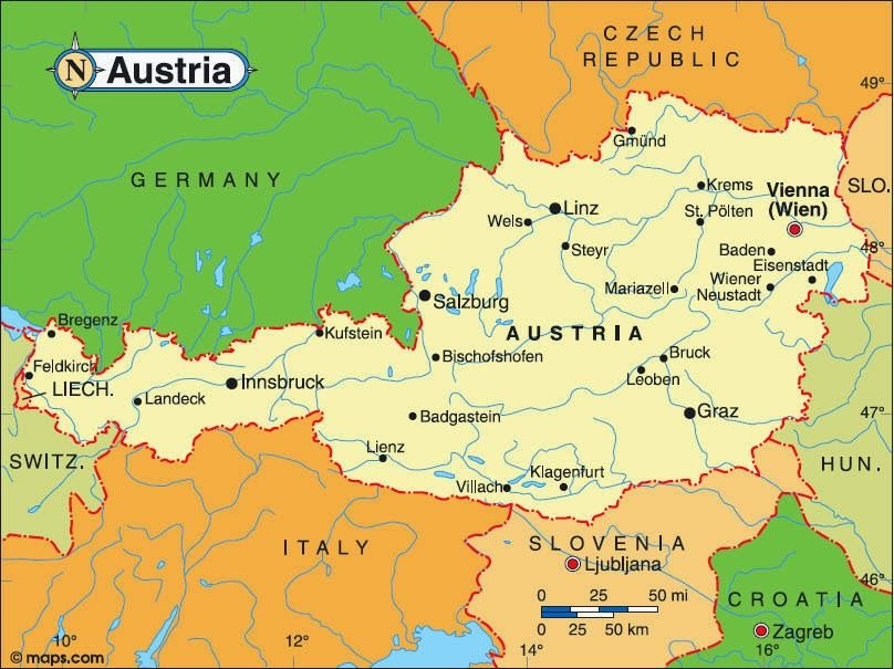 Map of Austria | Travel in 2019 | Pinterest | Austria, Austria map ...