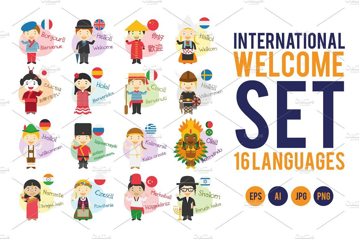 Welcome Set: 16 different languages (With images)   Kid character. Cartoon styles. History 18