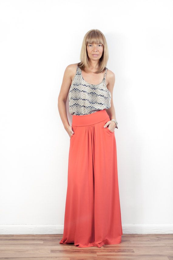 LOVE the entire look!  Fold-over Waist Maxi Skirt With Pockets - More Colors. $87.00, via Etsy.  Must find similar tank and skirt for summer