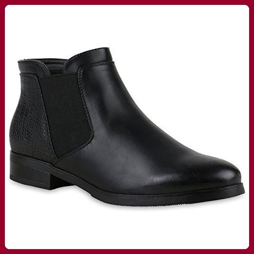 6dc24cb5eb4da8 Damen Chelsea Boots mit Blockabsatz Schuhe 123098 Schwarz Bernice 38 ...
