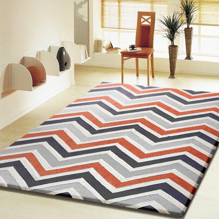 Superior Contemporary Modern Grey With Orange Indoor Area Rug Nice Design