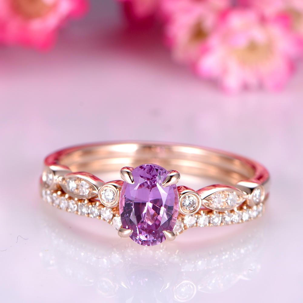 Pink sapphire engagement ring set 5x7mm oval shape pink sapphire 14k ...