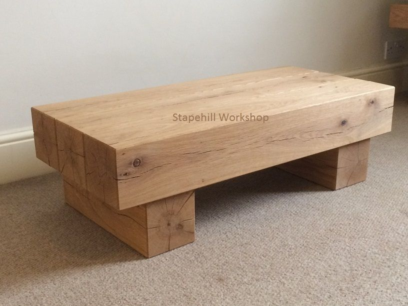 Tremendous 3 Beam Solid Oak Coffee Table 6X 6Inch Beams Stapehill Lamtechconsult Wood Chair Design Ideas Lamtechconsultcom