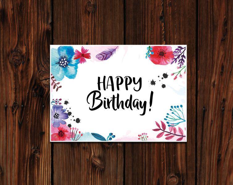 Geburtstag Geburtstagskarte Blumen Aquarell Blumen Karte