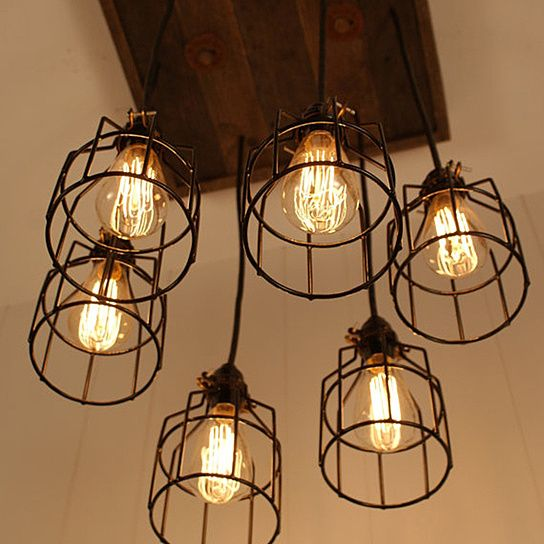 Rustic Reclaimed Wood Edison Bulb Industrial Chandelier Lights: Cage Light Chandelier