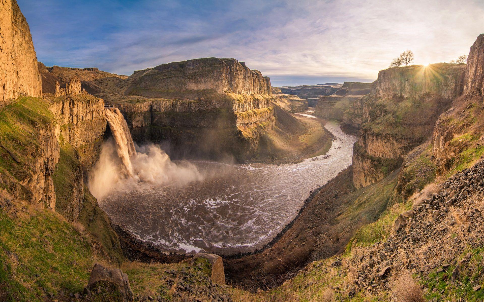 Montagnes Vallee Canyon Riviere Chute Eau Nuages Coucher Soleil Fonds D Ecran 1920x1200 Coucher De Soleil Nuage Image Automne