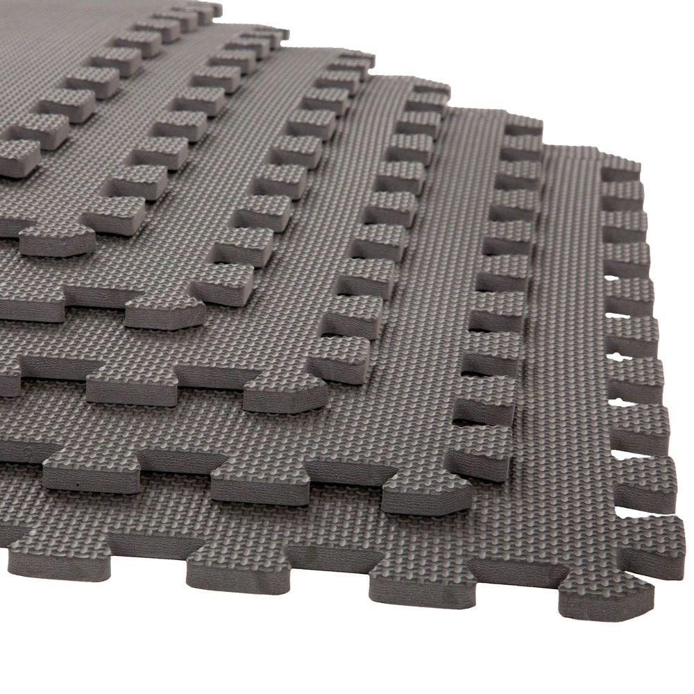 Stalwart 24 X24 6pk Interlocking Eva Faux Leather Foam Floor Mats Gray Foam Mat Flooring Foam Flooring Soft Flooring