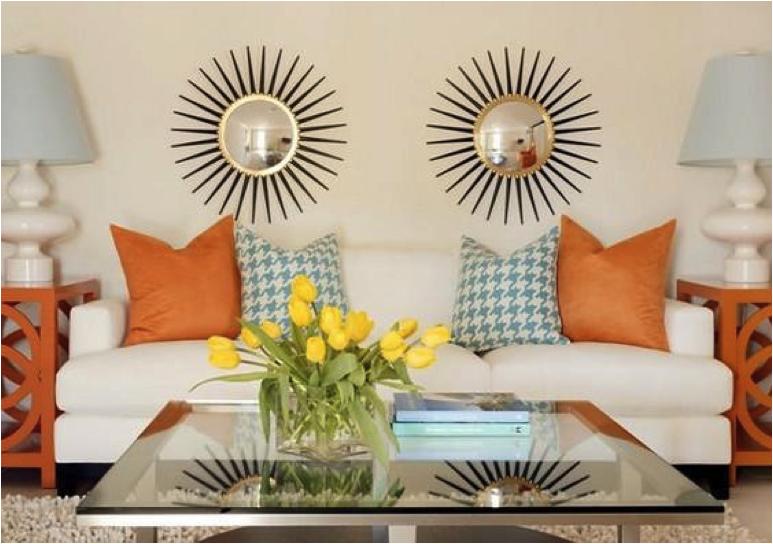 Light blue orange living room decor living rooms - Blue and orange living room decor ...