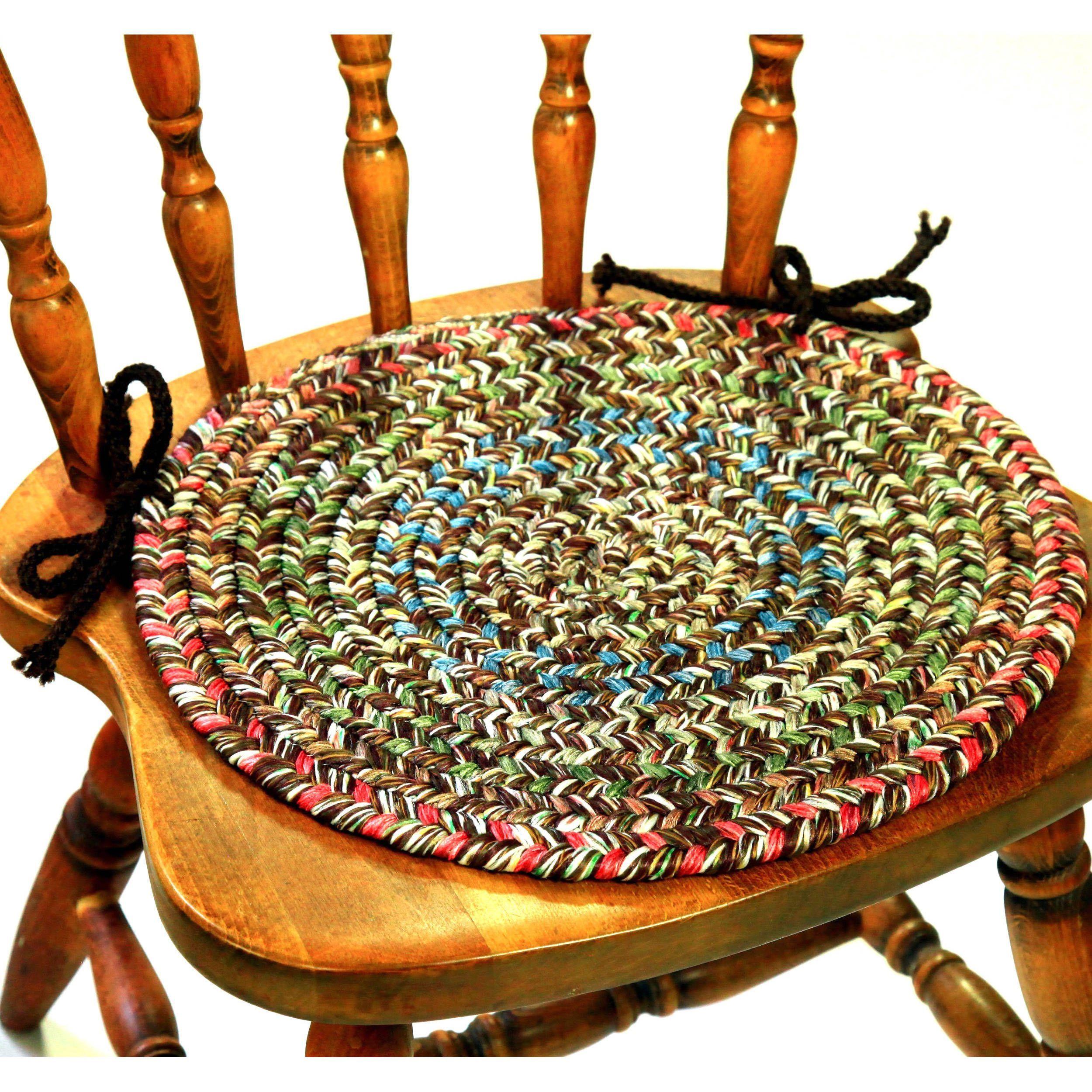 rhody rug sophia braided reversible chair pads set of 4 brown