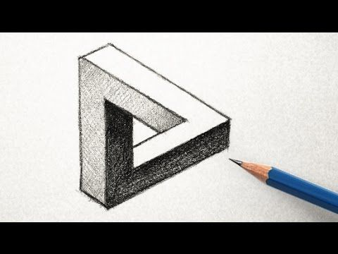 the easy way to draw an optical illusion triangle art