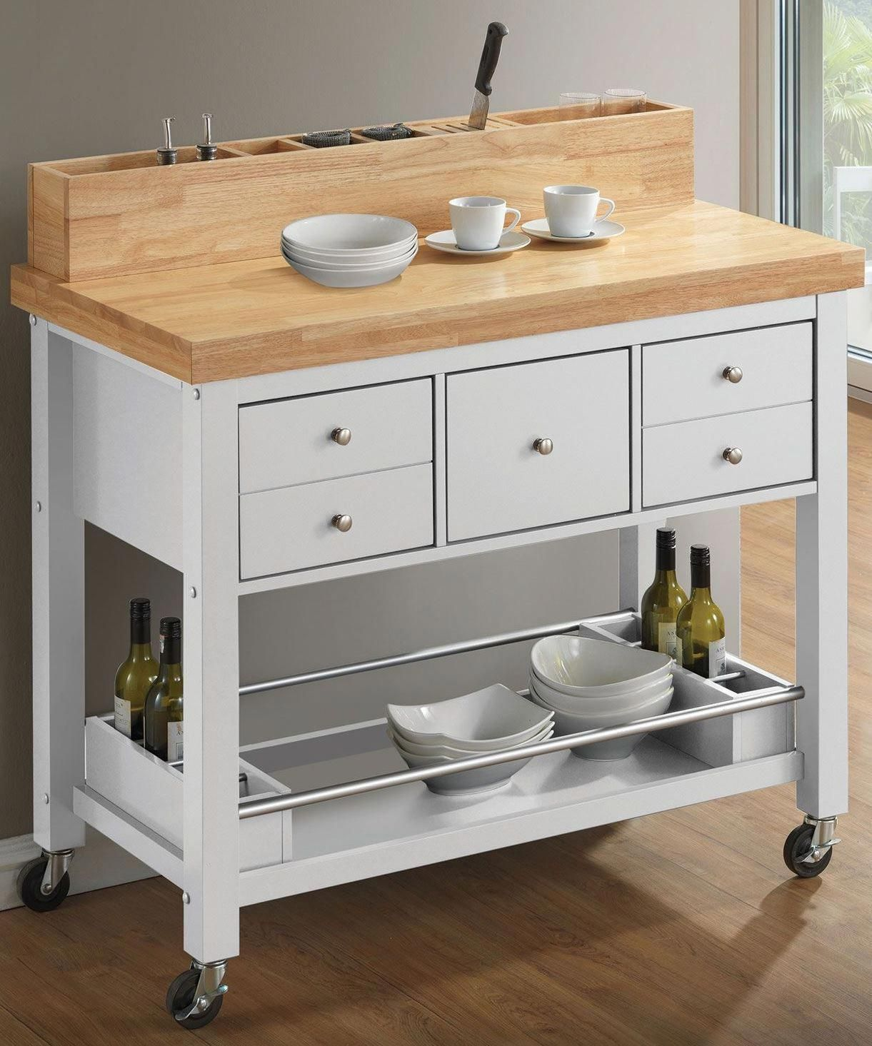 Natural and white kitchen cart by coaster is the perfect combination